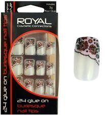 Royal Colle 24 sur Style Burlesque Ongles artificiels Set le Kit inclut 3g Pois Rose