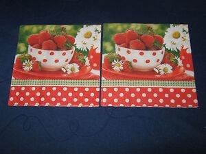 4 Lunch Servietten Küche Obst Erdbeeren Vogel Erdbeerblüten