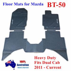 Heavy Duty Waterproof Floor Mats Tailored For Mazda BT50 Dual Cab 12 - 18 Grey