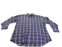 Tommy Hilfiger Shirt Blue Red Plaid Long Sleeve Pocket Button Down Mens Size XL