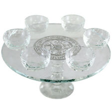 Passover Magnificent Crystal Seder Plate w/ Foot + Six Vials with Signs of Seder