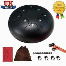 More details for 6 inch black steel tongue drum 8 tone g tune hand pan tank drums percussion uk