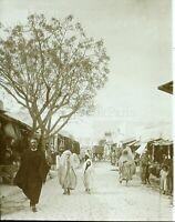 TUNISIE Kairouan Une Rue animée c1910, Photo Stereo Vintage Plaque Verre VR5L2