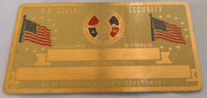 IAM Machinists US Social Security Metal Card Tag NOS VTG Perma Products