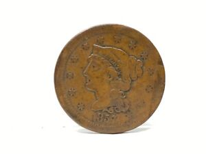 1857 Small Date Large Cent VF Details Semi-Key