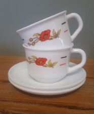 2 Arcopal Red Poppy Cup and Saucer Duos 1970's France