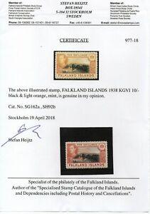 FALKLAND ISLANDS 1938 10/- 2nd printing SG162a lightly hinged verified  fresh.