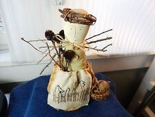 "8.5"" unmarked Vintage collectable Canvas cloth doll folk Art with basket & Twigs"