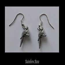 Earrings #257 Pewter LITTLE PARROT (25mm x 15mm) Silver Tone Bird Animal Series