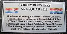 NRL Sydney ROOSTERS 2013 Squad Plaque Silver  free post