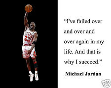 """Michael Jordan """" I succeed"""" Famous Quote 8 x 10 Photo Picture #m1"""