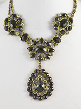 CHUNKY VICTORIAN LOOK BLACK MULTI-FACETED BEAD AND DIAMANTE STATEMENT NECKLACE