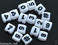 """100pcs 7 mm blanc plat rond perles acryliques /""""unitaire/"""" numéros 0-9"""