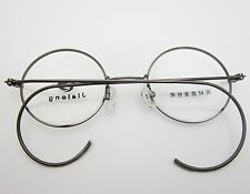 40mm Antique Retro Small Round Grey Wire Rim Eyeglass Frame Spectacles RX
