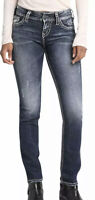 Silver Jeans Co. Women's Indigo Suki Straight Leg Mid-Rise Curvy 27Wx34L NWT HTF