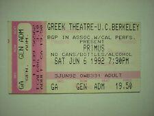 Bass Ticket Stub 1992 Primus griechischen Theater Berkeley California mit Cracker