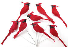2.5 inch mini RED Feather Cardinal Bird, Handmade, set of 12