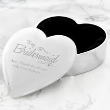Personalised Engraved Jewellery Trinket Box Heart Bridesmaid Wedding Gift