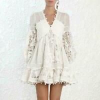 Ladies White Ruffle Lace Cutout Dot Tassels Dresses Mini Skirts Casual Style HOT