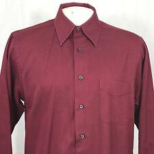 Geoffrey Beene Men Dress Shirt Medium 15 1/2 34-35 Regular Fit Maroon Cotton Red