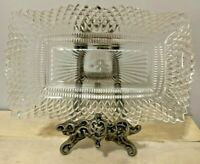 Vintage Clear Glass Relish Candy Dish Rectangular Tray Scalloped Edges