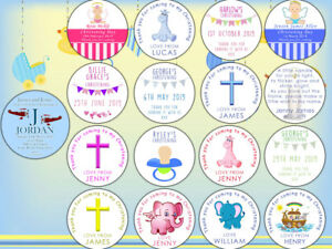 Sheet of Personalised Christening Stickers Labels Thank You For Coming Baptism