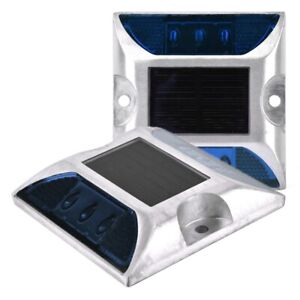 1PAIR Solar Power Lights Ground Outdoor Stud 6 LED  Walkway Dock Lights Security