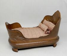 Wooden Sleigh Bed Dollhouse Miniature 1:12