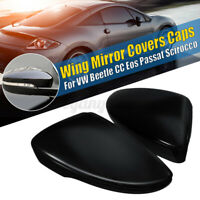 Pair Door Side Wing Mirror Cover Cap Glossy For VW Beetle CC EOS Jetta