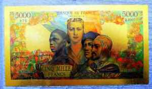 """● FRANCE """" GOLD """" POLYMER BANKNOTE 5000 FRANCS FRENCH EMPIRE 1942 - 1947 ● A"""