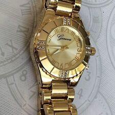 Geneva Women's Gold Watch Crystal Stone Bezel Round Gold Dial Designer Style NEW