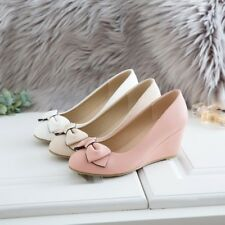 Chic Mary Jane Women's Slip on Wedge Heels Round Toe Bowknot Ladies Sweet Shoes