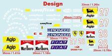 1/10 F1 Ferrari F191 decal sticker for Tamiya Chassis F103 F104w RC Body