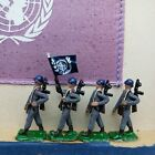 4 HO Scale Soldiers Figures United Nations Flag Mounted on Wood Painted