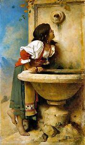 Roman Girl at a Fountain 1875 by Leon Bonnat Old Masters 11x19 Art Print