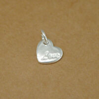 Real 925 Sterling Silver Solid Puffy Love Heart Necklace Bracelet Charm Pendant