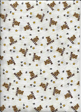 New Beige Bears & Bees - Boyds Bear - 100% Cotton Fabric by the yard