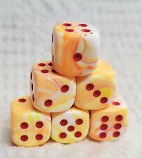 Dice - Chessex (6) 12mm Festive Sunburst w/Red - Smaller Size Sunny & Bright!