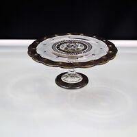 Georges Briard  Pedestal Cake Plate Teardrop Pattern Silver Band Mid Century