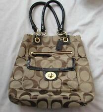 COACH Hampton handbag signature logo khaki black patent leather tote J1077