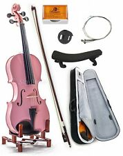 NEW Pink 4/4 Size Solid MAPLE SPRUCE Student Violin w Case Bow Rosin String Mute