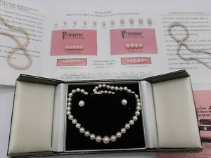 14K GOLD PRINCESSE CULTURED PEARLS NECKLACE & EARRING SET/ ESTATE FIND ? RECEIPT