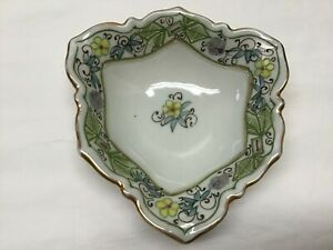 Vintage Hand Painted Nippon Trinket or Ring Dish Yellow, Purple, & Blue Flowers