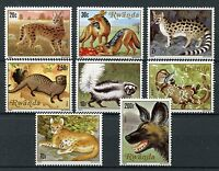 Rwanda 1981 MNH Carnivorous Animals Serval Jackal Otters Zorilla 8v Set Stamps