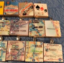 LOT AREA MAP USA Scrabble Tile Art Pendant Jewelry Charms Wholesale Resale Gifts