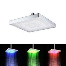 "6"" 3 Color LED Square Rain Bathroom Temperature Sensor Shower Head hydroelectric"