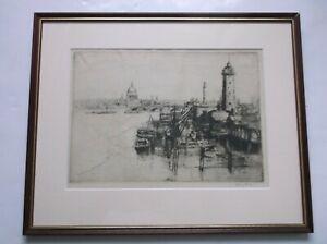 SYDNEY LONG AUSTRALIAN ARTIST ORIGINAL ETCHING RIVER FROM WATERLOO BRIDGE 1919