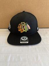 Chicago Blackhawks Nhl '47 Brand Black Sure Shot Adjustable Snapback Hat New