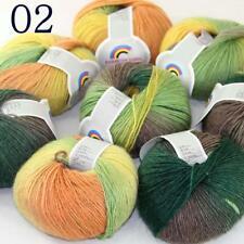 AIP Soft Cashmere Wool Colorful Rainbow Shawl DIY Hand Knitting Yarn 50grx8 02