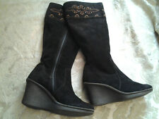 Clarks Suede Leather BOHO Wedge Boots